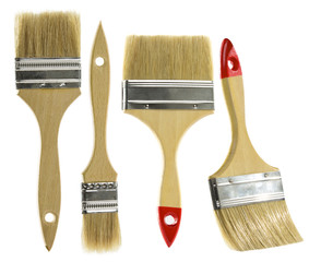 Paint brush set isolated over white background