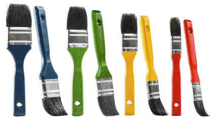 Paint brush set, multicolor paintbrush isolated over white