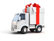 truck with gift box 3d illustration