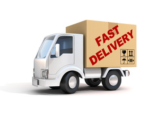fast delivery van loaded with cardboard box