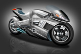 modernes Motorrad mit schwarzen Hintergrund - 64101404