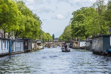 Bridge across Amsterdam channel, Netherlands.