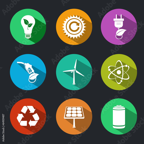 Flat Energy and Ecology Icons Set