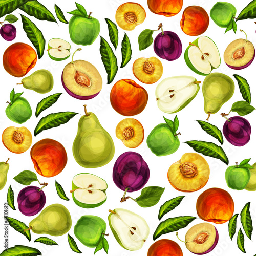 Seamless mixed sliced fruits pattern background