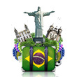 Brazil, Brazil landmarks, travel and retro suitcase - 64102440