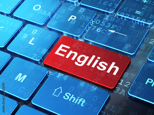 Education concept: English on computer keyboard background