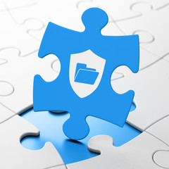 Business concept: Folder With Shield on puzzle background