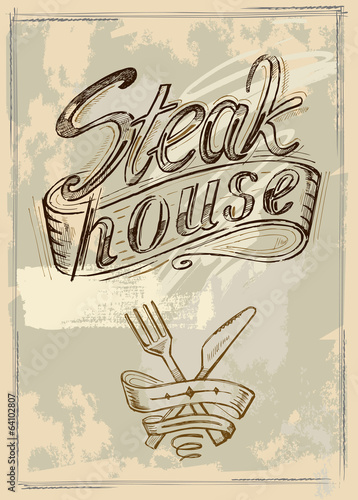 vector hand drawn steak