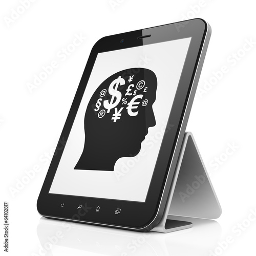 Business concept: Head With Finance Symbol on tablet pc computer