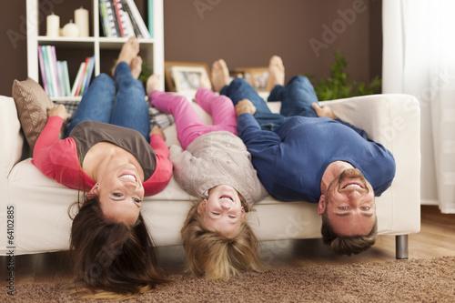 Leinwanddruck Bild Funny time for family at home