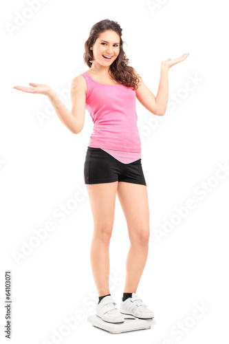 Girl standing on a weight scale and gesturing