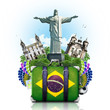 Brazil, Brazil landmarks, travel and retro suitcase - 64103482