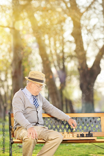 Lonely senior playing chess seated on bench