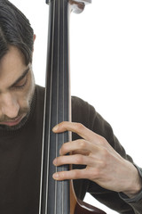 Portrait - Musician On Double Bass - Isolated