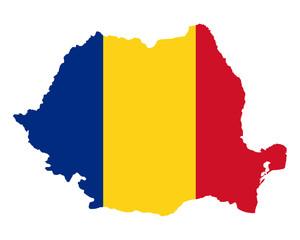 Karte und Fahne von Rumänien