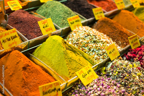 Closeup of spices on sale market