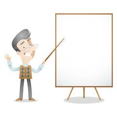 Senior, gray haired, professor, teacher, blank screen