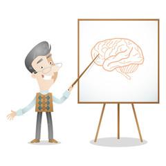 Senior professor, lecturer, screen, brain