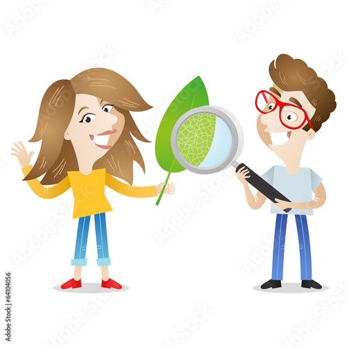 Boy, girl, student, examining, leaf, magnifying glass