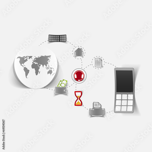Set of sticker design. Global high-tech concept