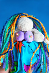 Colorful hand-made mermaid doll.