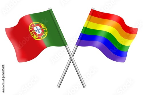 Flags : Portugal and rainbow