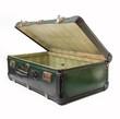 valigia vintage verde semi aperta di traverso