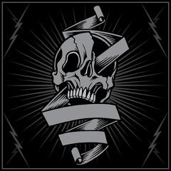 Skull and ribbon vector