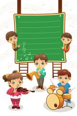 Kids playing music poster