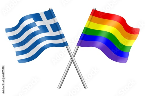 Flags : Greece and rainbow