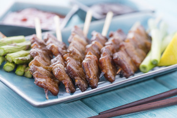 Kushiyaki - Butabara (Japanese grilled belly pork).