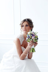 Wedding. Bride with bouquet
