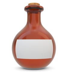 3d amber potion flask with blank label