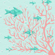 Coral and fishes vector illustration. Ocean theme colorful backg