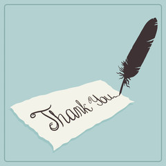 Thank you card design with calligraphic text and quill