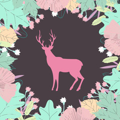 Deer silhouette in floral frame. Colorful vector illustration