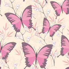 Colorful butterfly and flowers vector background in pastel color