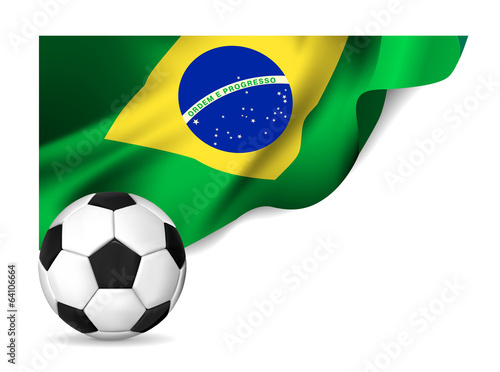 Soccer ball with brasil flag