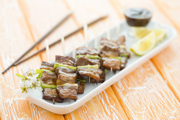 Kushiyaki - Japanese grilled belly pork and spring onions