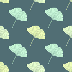 Spring seamless vector background with ginkgo leaves