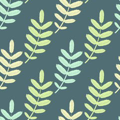 Spring seamless vector background with colorful leaves
