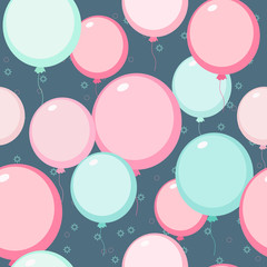 Balloons seamless vector background in pastel colors