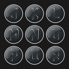 Black color rip paper alphabet icons button set