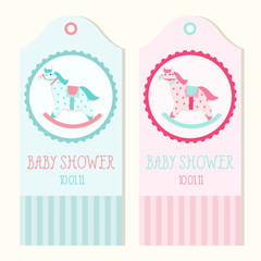 Baby shower invitation card templates with rocking horse