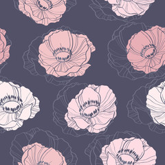 Beautiful seamless background with anemone flowers