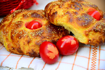 Easter bread and red eggs