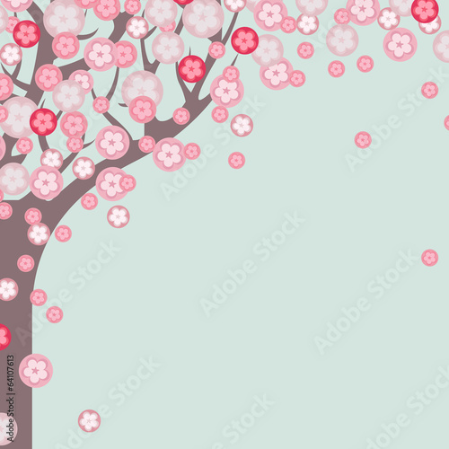 Cherry tree blossom. Spring background in pastel colors