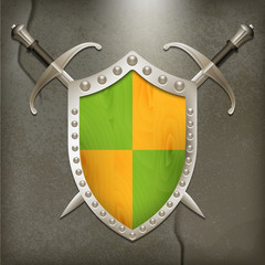 A set of double-edged swords medieval shield