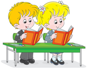 Schoolgirl and schoolboy reading books in a class