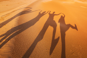 Shadow silhouettes of four people having fun in the desert
